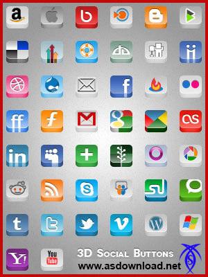 دانلود فایل لایه باز سه بعدی شبکه های اجتماعی- psd photoshop