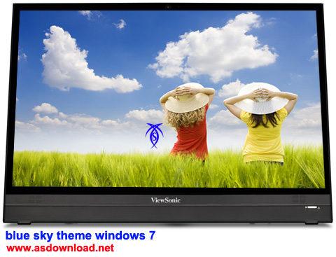 دانلود تم آسمان آبی برای ویندوز سون - sky blue theme windows 7