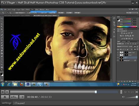 دانلود فیلم آموزش حرفه ای طراحی نیمه جمجمه و انسان با فتوشاپ cs6