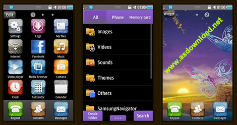 دانلود تم پروانه برای موبایل سامسونگ- بادا