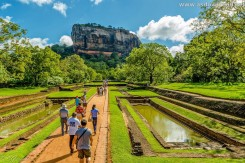 Way to Sigiriya rock through the royal gardens