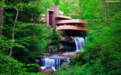 Waterfall Under The Forest House Wallpaper