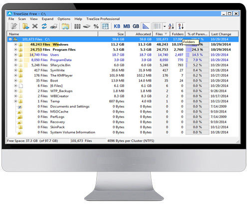 TreeSize Free 3.2.1.252-نرم افزار نمایش سایز پوشه های ویندوز