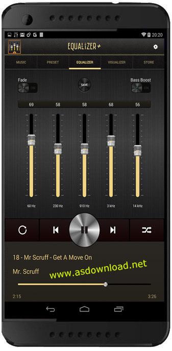 Equalizer + mp3 Player Volume v1.3.3- نرم افزار اکولایزر و افزایش کیفیت صدای اندروید