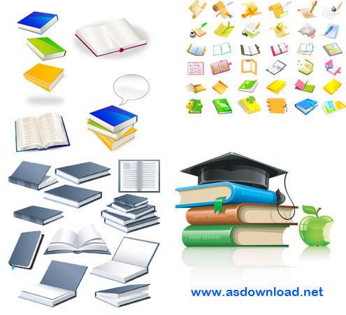دانلود وکتور انواع کتاب برای طراحی