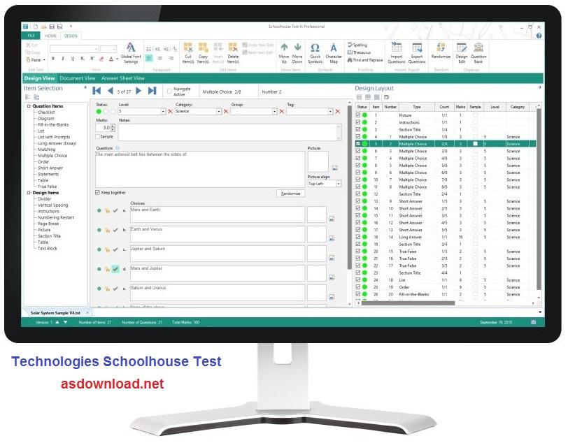 نرم افزار طراحی نمونه سئوالات امتحانی - Schoolhouse Test 4.1.0.11