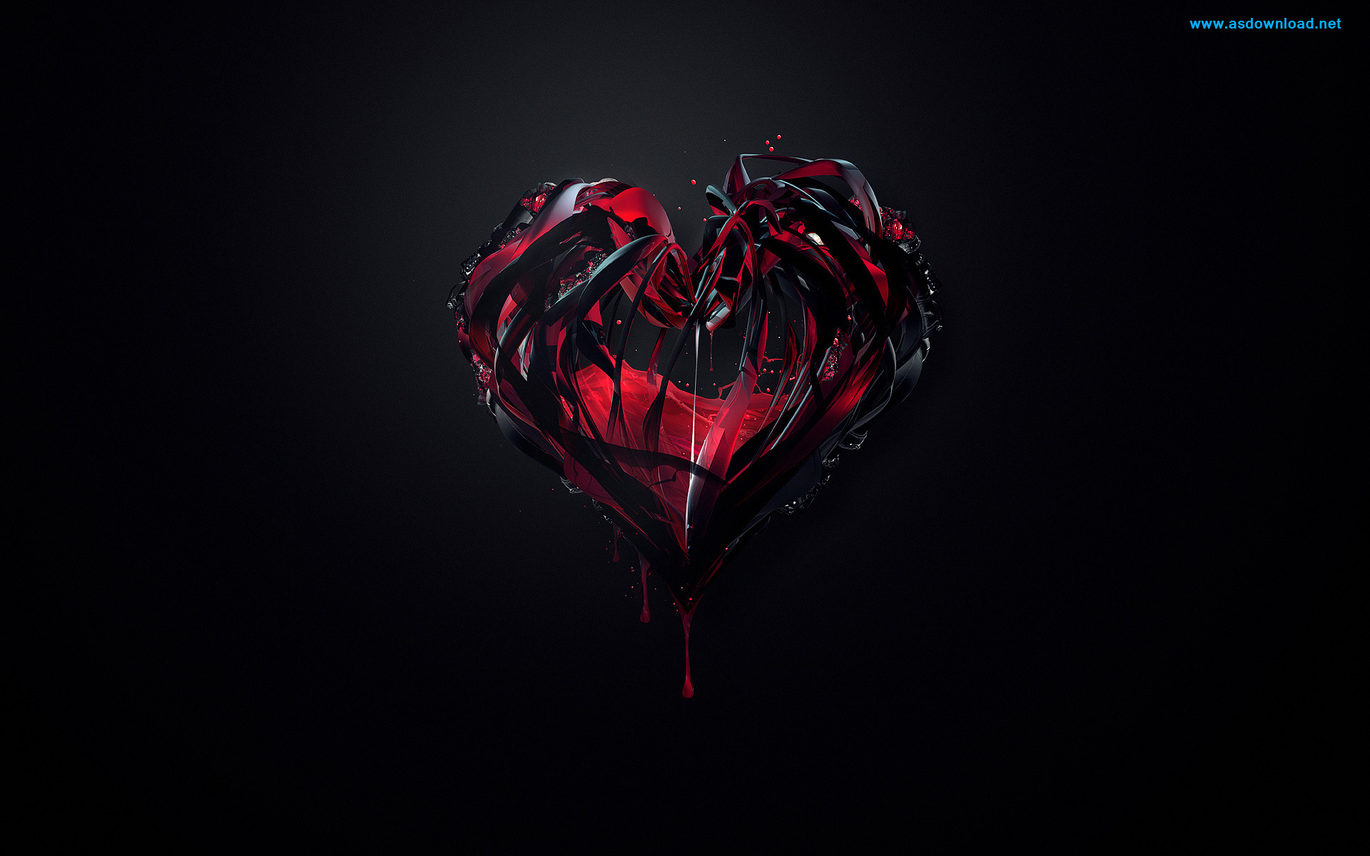 3D-Black-And-Red-Heart-Wallpaper