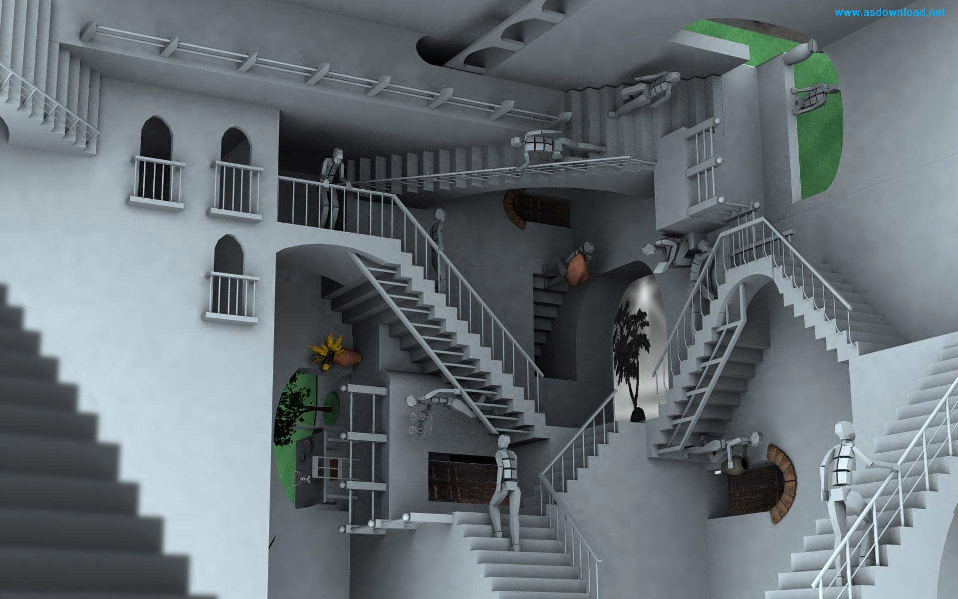 Stairways-Optical-Illusion-Wallpaper