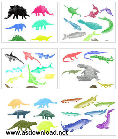 dinosaurs- fish brushes