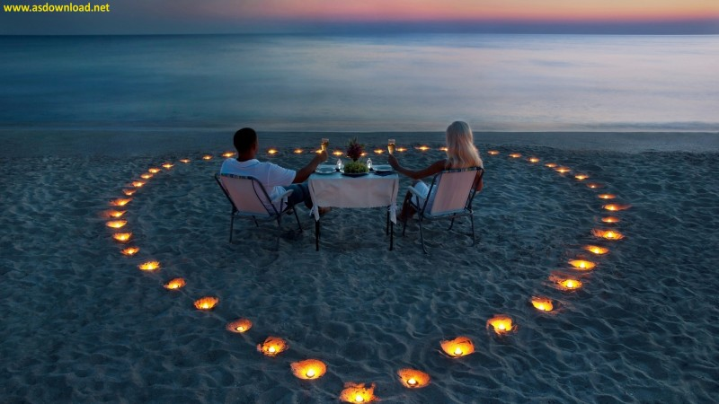 Romantic Dinner on the Beach-at Sunset Wallpaper