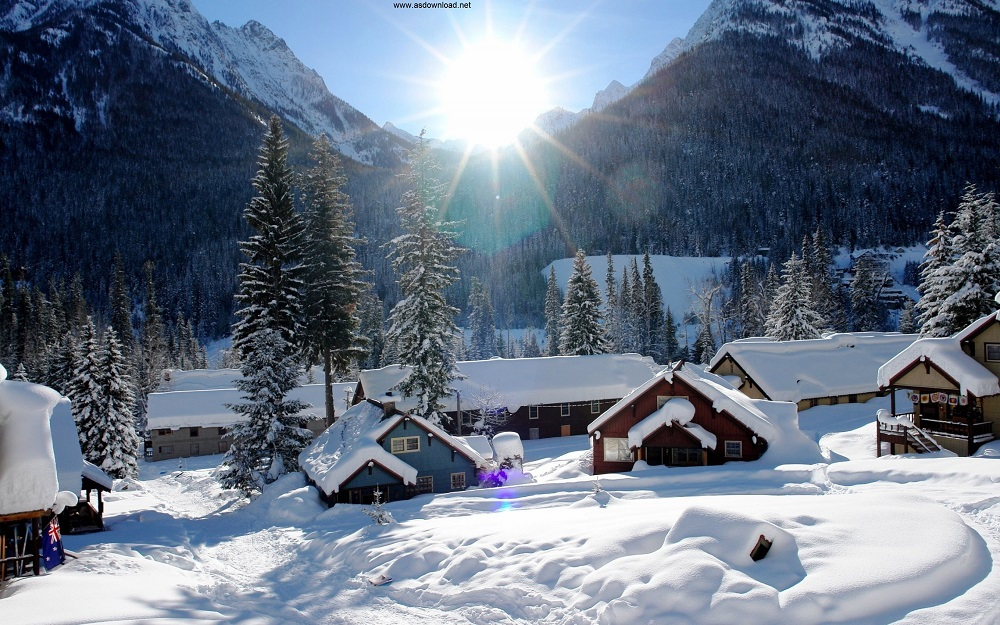 Mountains Houses Snow Winter Beautiful Wallpaper