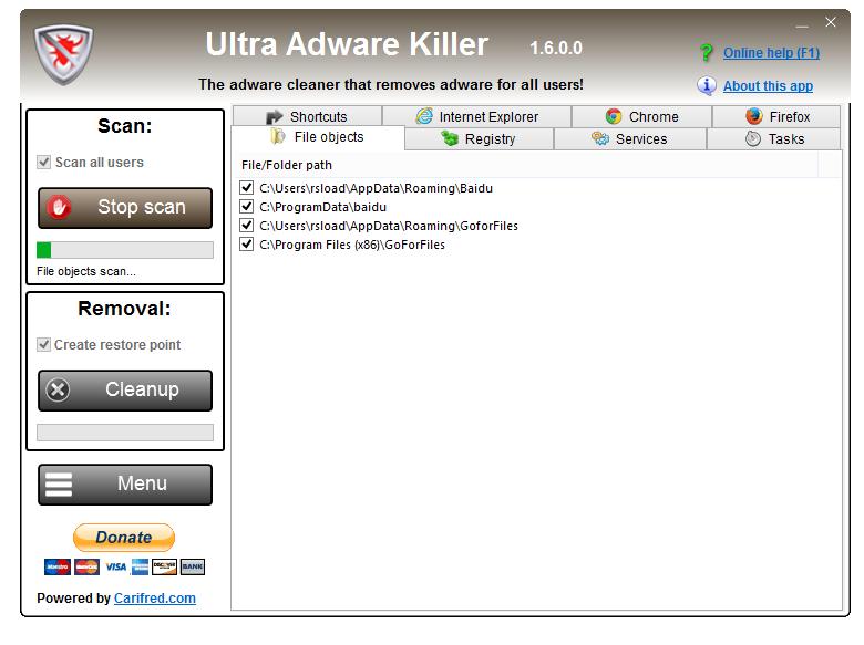 Ultra Adware Killer 1.7.2.0 + x64 - نرم افزار حذف بدافزارهای تبلیغاتی از مرورگرها