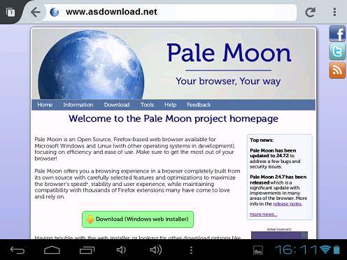 دانلود مروگرر Pale Moon web browser 25.1 برای اندروید