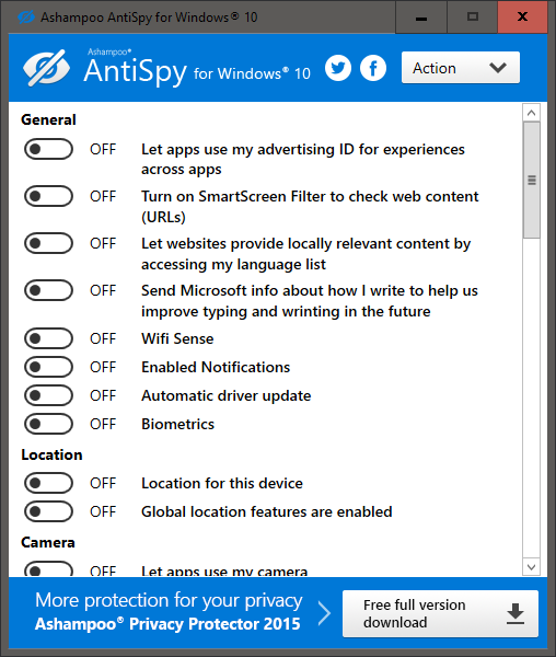 دانلود آنتی اسپای ور برای ویندوز 10 -  Ashampoo Antispy for Windows 10 v1.0.1