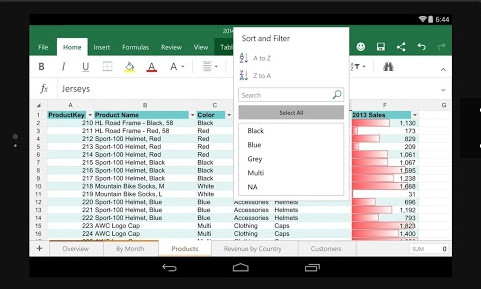Microsoft Excel -2016 for android