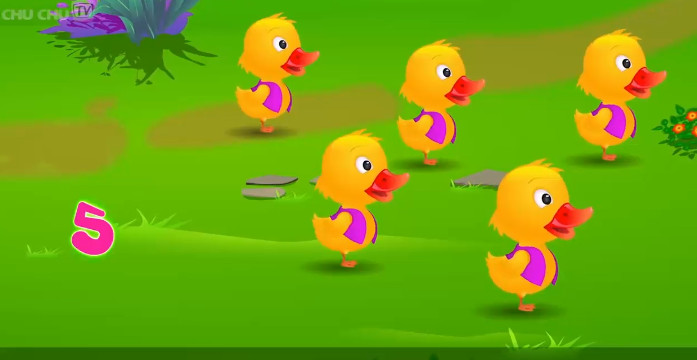 teching english-Cartoon Animation-Five Little Ducks