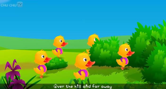 teching english-Cartoon-Animation Five Little Ducks