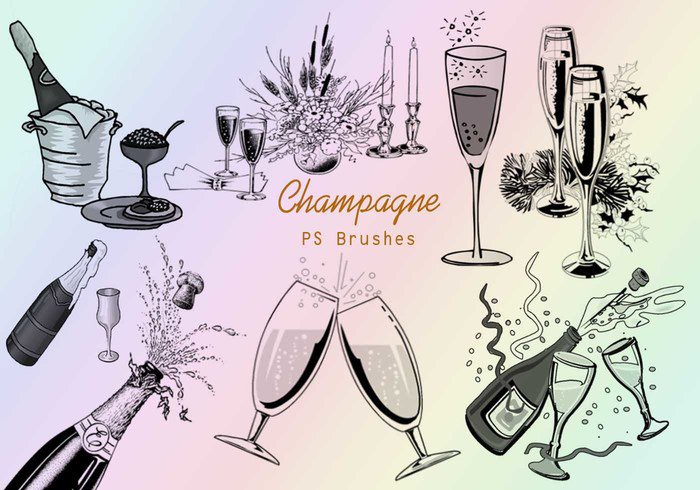 20 Champagne PS Brushes