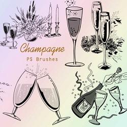 دانلود براش و قلم مو ظرف نوشیدنی و Champagne برای فتوشاپ