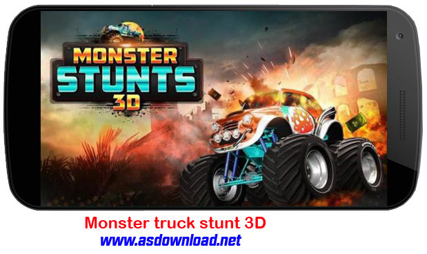 Monster truck stunt 3D-بازی چند نفره شیرین کاری با کامیون غول پیکر برای آندروید