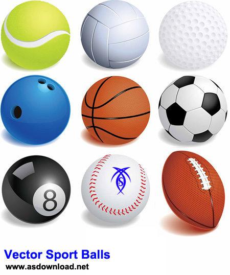دانلود وکتور انواع توپ ورزشی برای طراحی