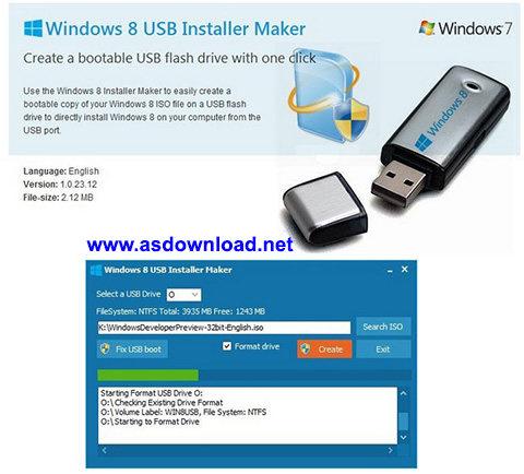 دانلود نرم افزار نصب ویندوز 8 با استفاده از فلش مموری- Windows 8 USB Installer Maker 1.0.23.12