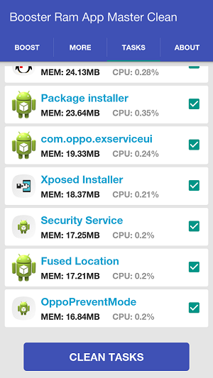 android Booster Ram App Master Clean