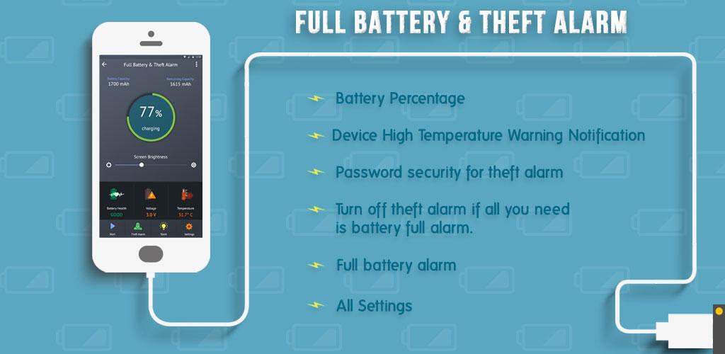 دانلود Full Battery Alarm & Theft Alarm برنامه آلارم ضد سرقت و پر شدن باتری اندروید
